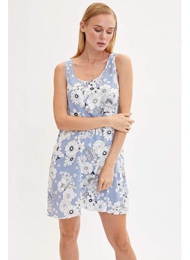 DeFacto Çiçekli Kolsuz Elbise Mavi
